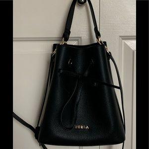 Beautiful FURLA Black Pebble Leather Bucket Bag